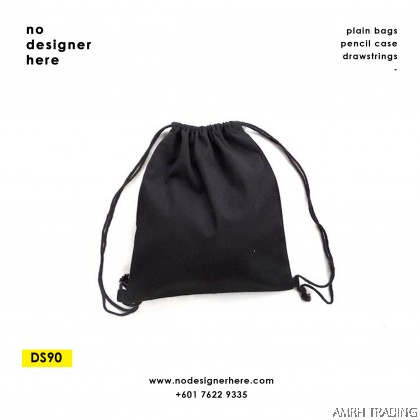 CODE: DS90    (Black Canvas Drawstring Bag)